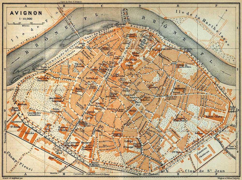 Plan d'Avignon en 1914