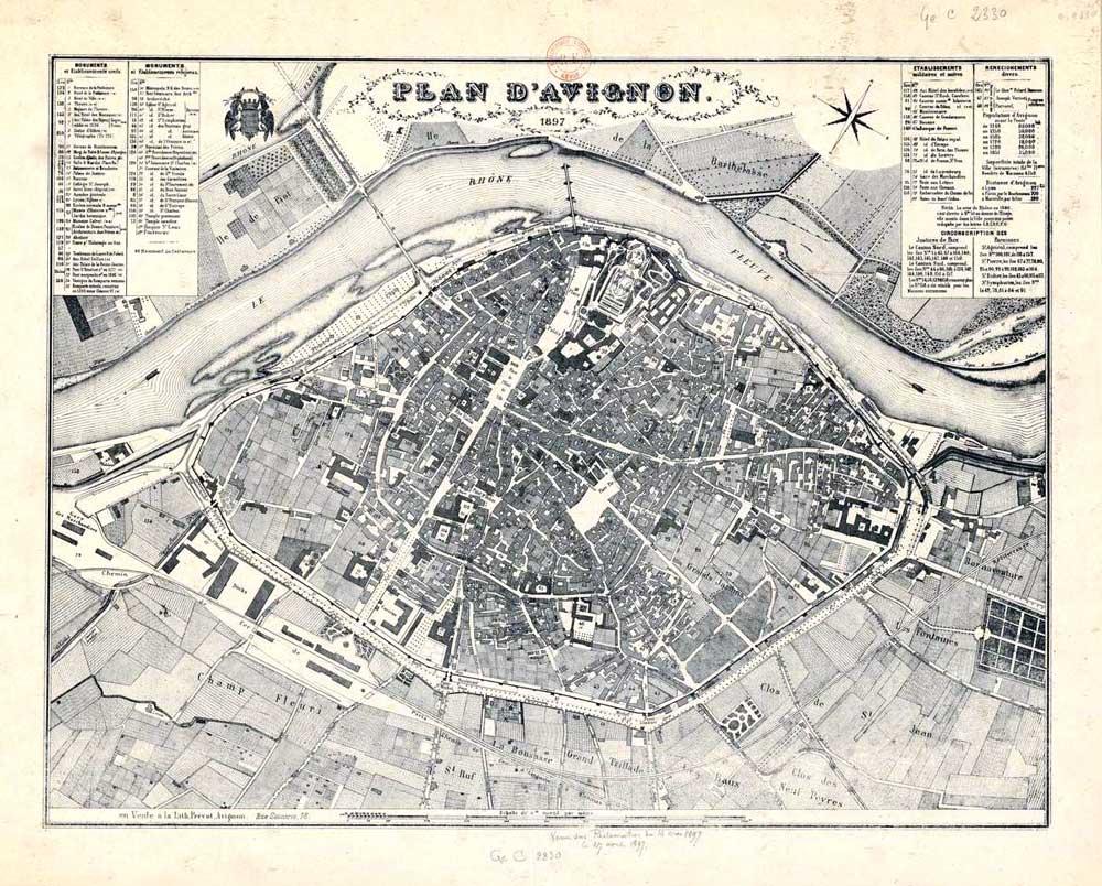 Plan d'Avignon en 1897