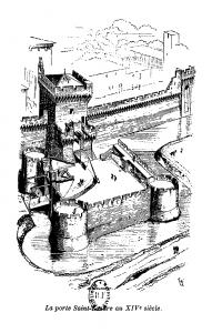 La porte Saint-Lazare au 14e siècle dessin de Viollet-le-Duc