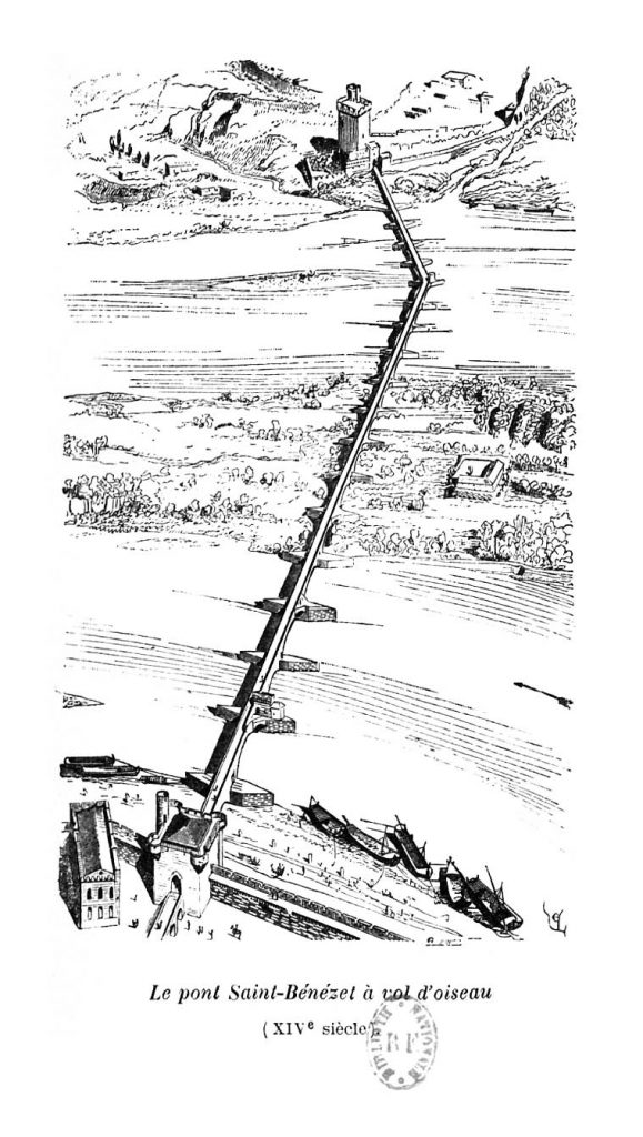 Le pont Saint-Bénézet à vol d'oiseau, dessin de Viollet-le-Duc