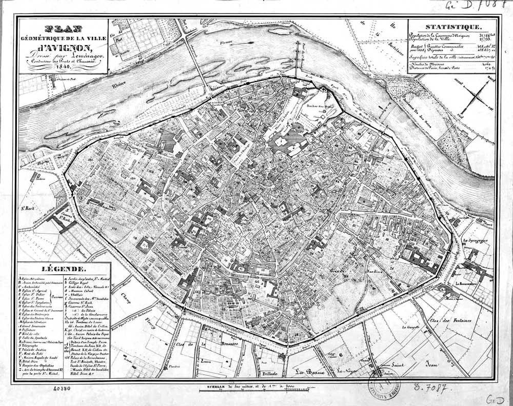 Plan d'Avignon en 1840