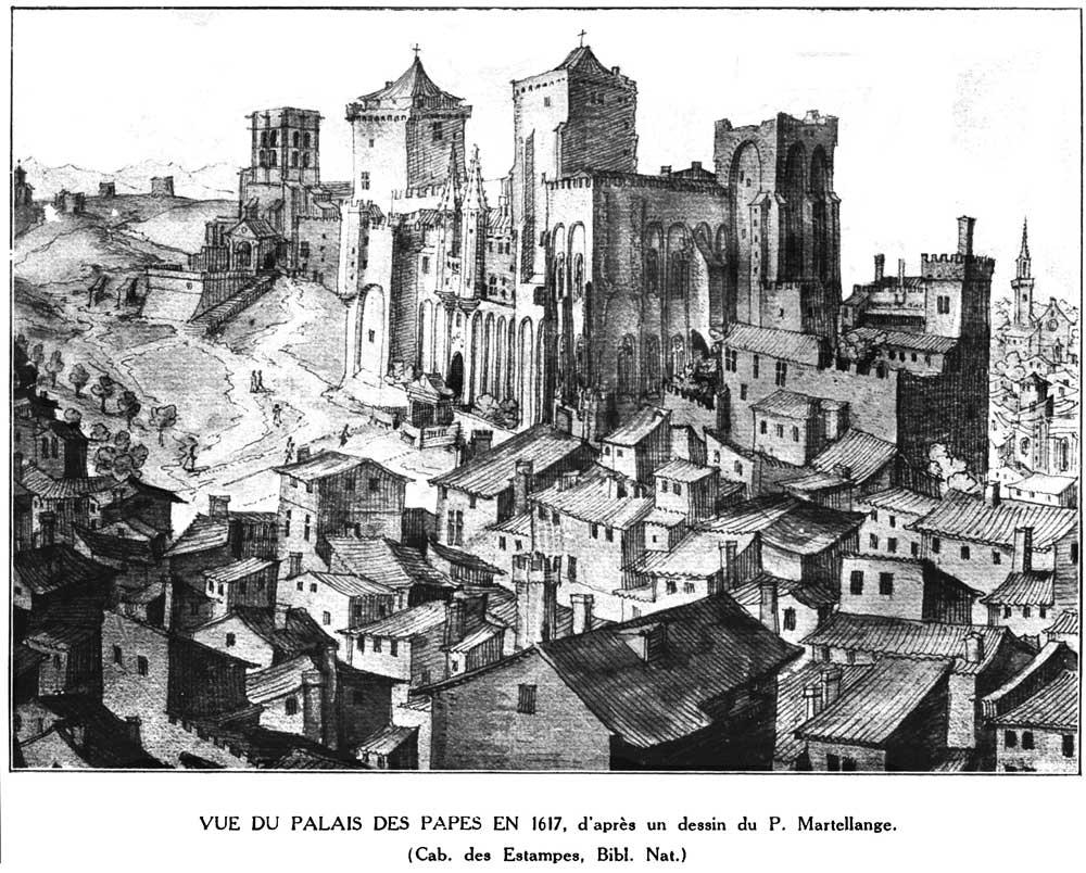 Le palais des Papes en 1617 (dessin)
